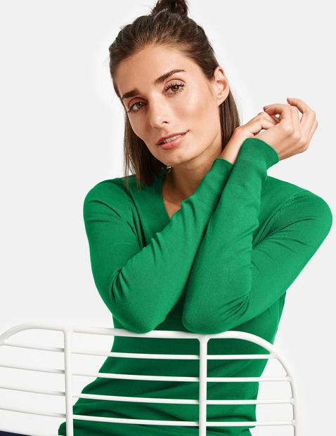 Sweter basic z dekoltem w serek