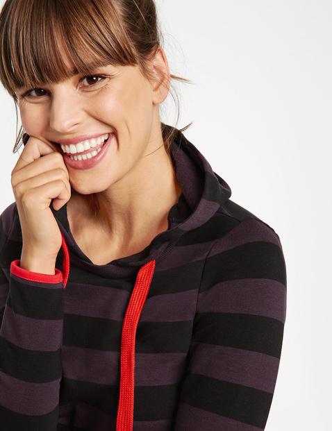 Striped sweatshirt dress with a hood