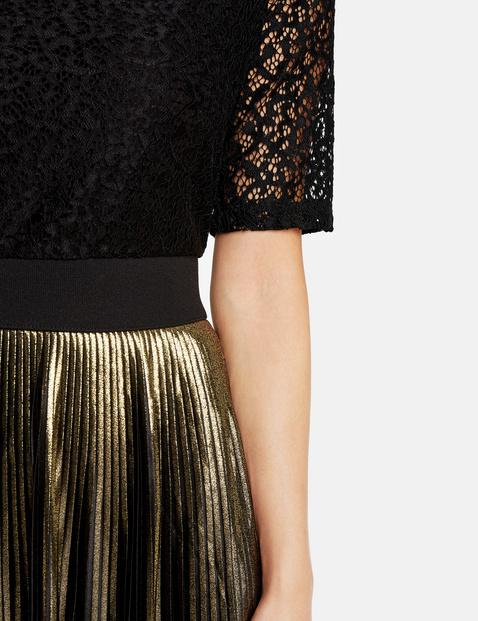 Partykleid mit Spitze und Gold-Plissée
