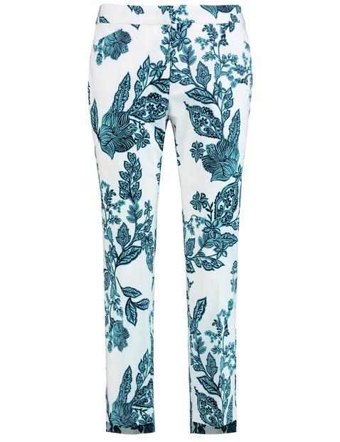 7/8-Length slim peg leg trousers with a floral print