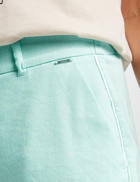 7/8-length trousers in a linen blend, Peg Leg