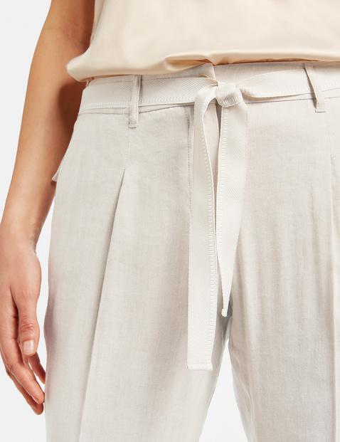 Peg Leg linen blend trousers