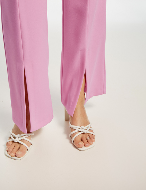 Palazzo trousers with hem slits, Wide Leg High