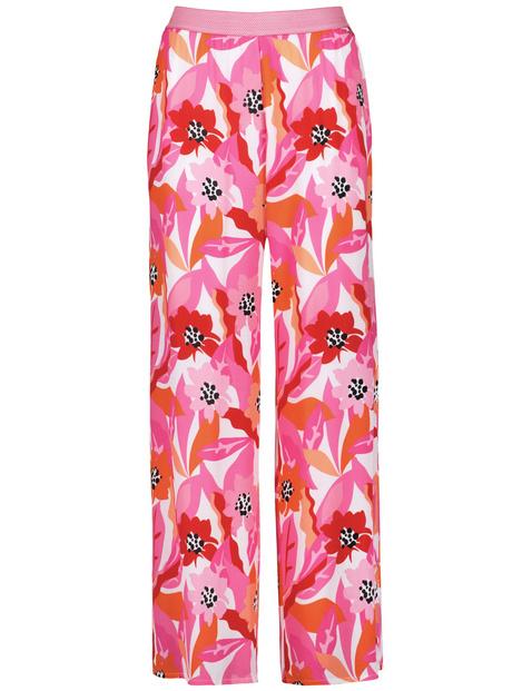 Spodnie palazzo z nadrukiem w kwiaty