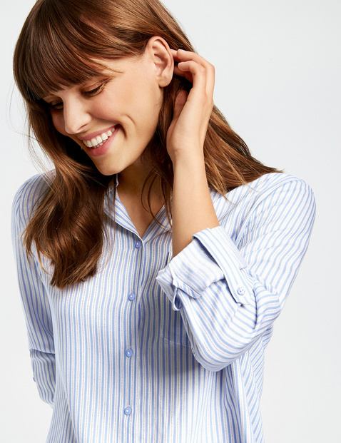 Striped blouse with a shiny finish