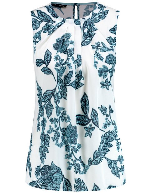 Sleeveless blouse with a floral print
