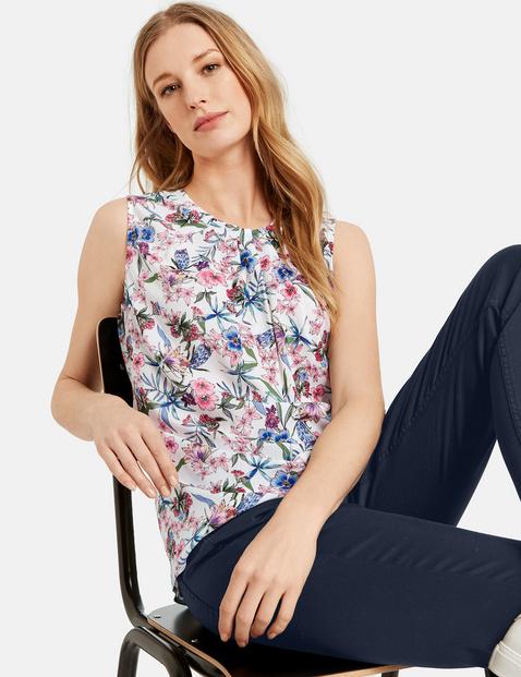 Ärmellose Bluse mit Blumen-Print