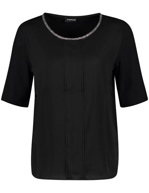 Halflang shirt met satijnen voorpand