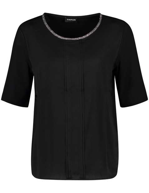 Top with mid-length sleeves and a satin front