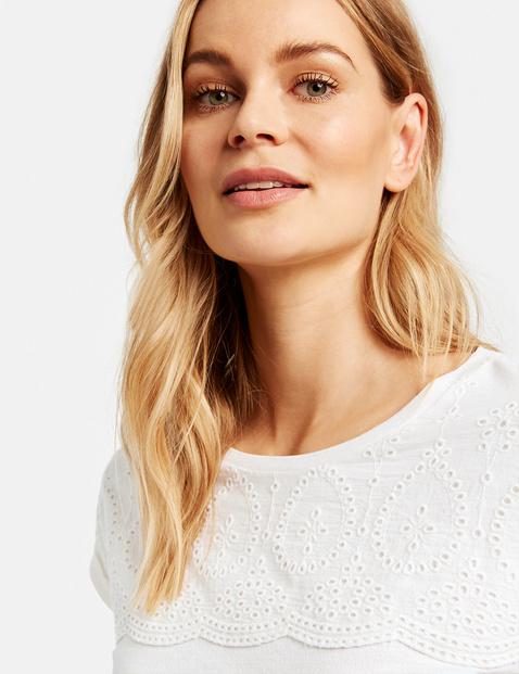 T-shirt z bawełnianą koronką