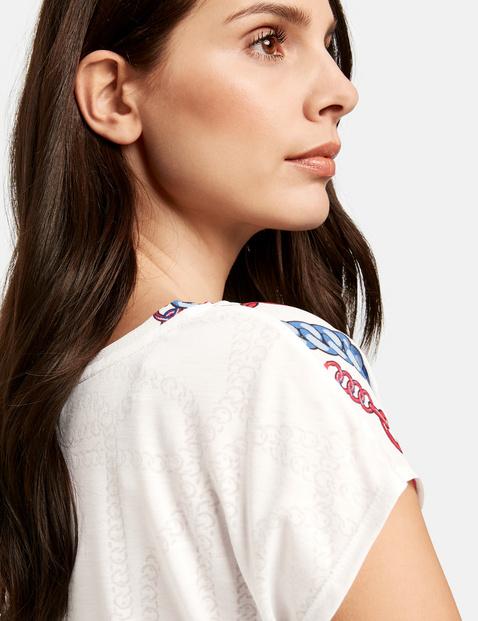 Mixed fabric short sleeve top