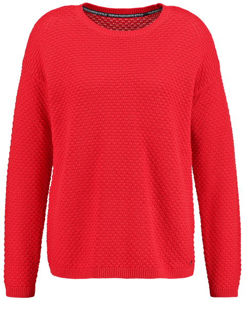 Baumwoll-Pullover mit Struktur