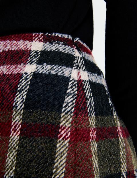 Spódnica w kratkę z miękkiego materiału w wełnianym stylu