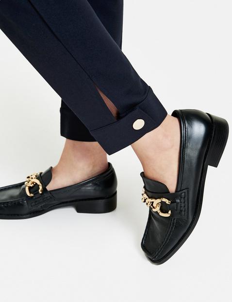 Trousers in a feminine uniform style, Slim Peg Leg