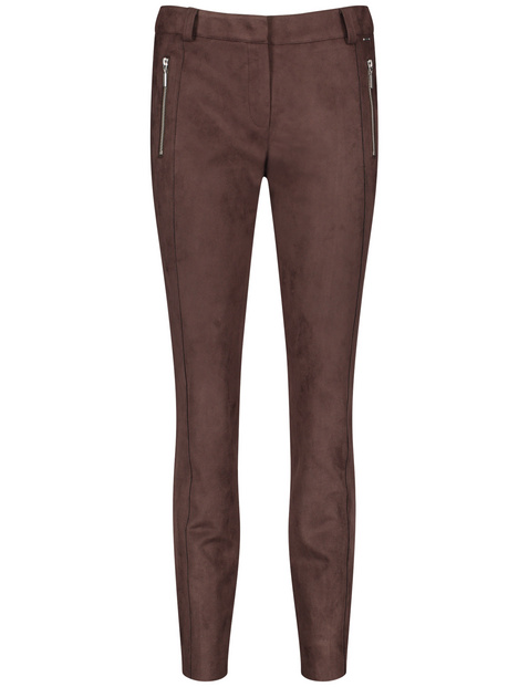 Super skinny, high-waisted stretch trousers in faux suede