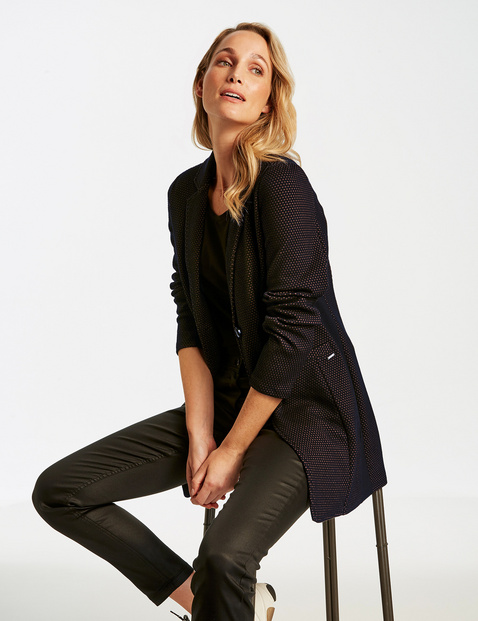 Long blazer made of stretchy, textured fabric