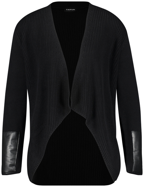 Cardigan with faux leather details