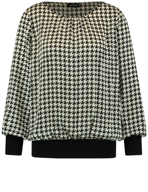 Blouse top with a houndstooth pattern