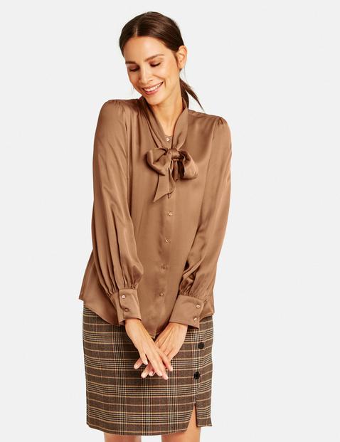 Satijnen blouse met strik