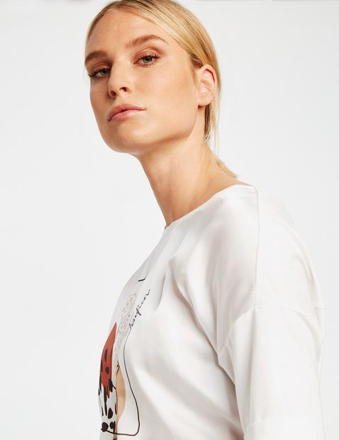 T-shirt met satijnen voorpand