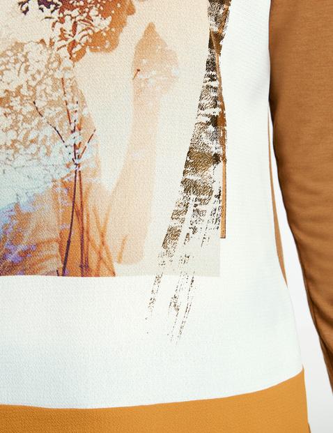 Langarmshirt mit Material-Mix