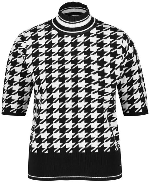 Halbarm-Pullover mit Hahnentrittmuster