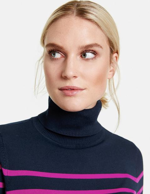 Rollkragen-Pullover mit Streifen
