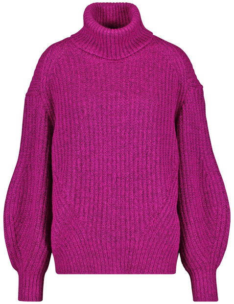 Polo neck jumper with leg-of-mutton sleeves