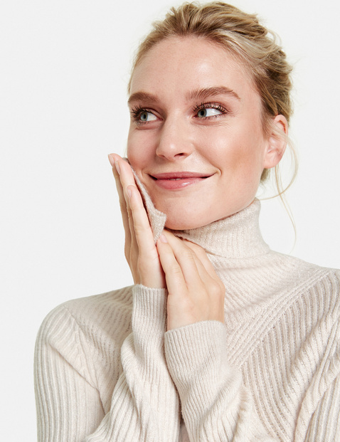 Rib knit polo neck jumper