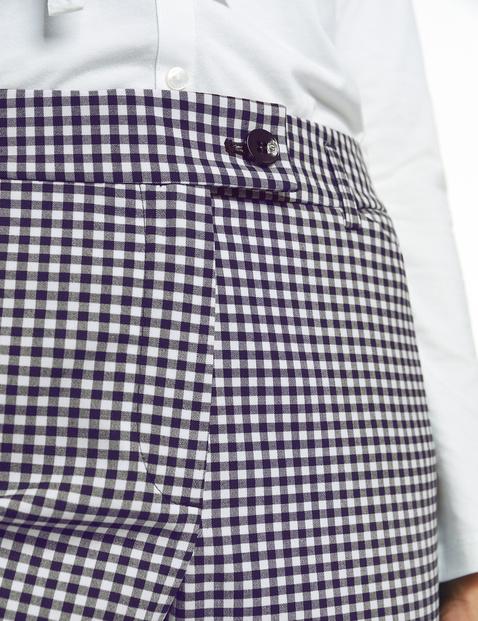 7/8-length gingham check trousers, Slim Peg Leg