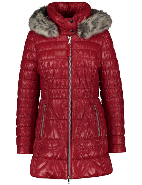 Shiny quilted jacket with faux fur