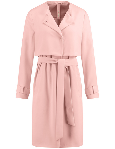Trench coat with a tie belt