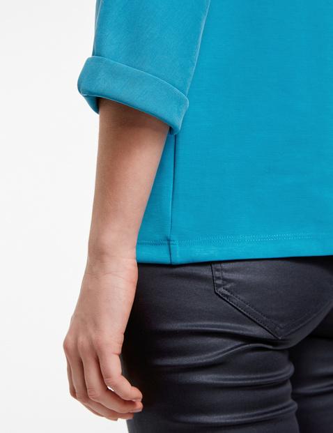Shirt met 3/4-mouwen en ruime opstaande kraag