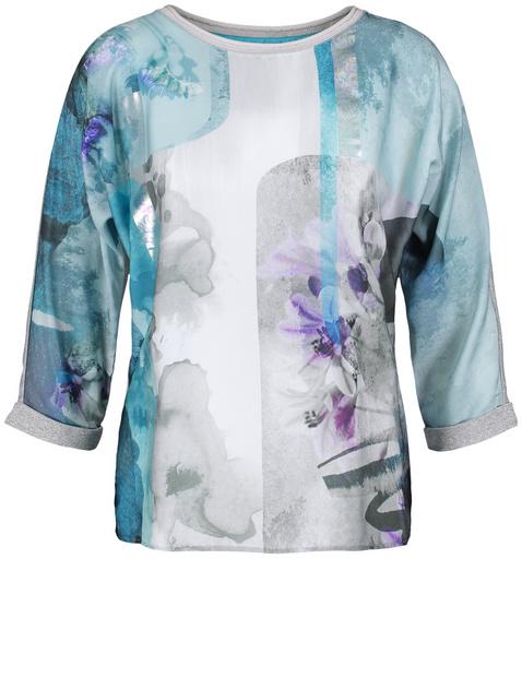 Blouseachtig shirt met satijnen voorpand