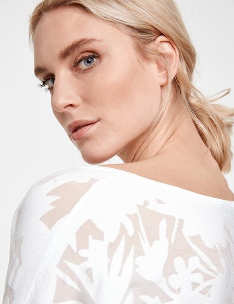 Pullover mit floralem Ausbrenner-Effekt