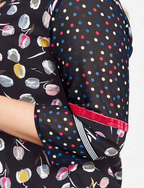 Bluse mit Blumen-Tupfen-Print