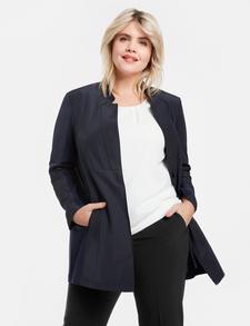 SAMOON Long-Blazer edler Damen Jacke in Stretch-Qualität Große Größen Schwarz