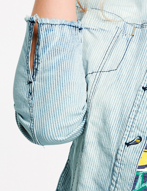 Jeansjacke mit Streifen-Dessin