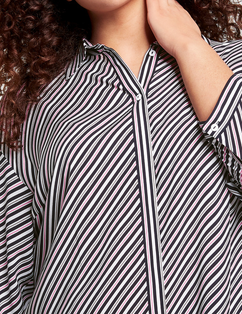 3/4-sleeve blouse with stripes
