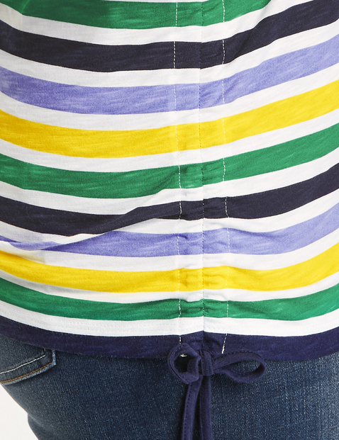 Striped top with gathers