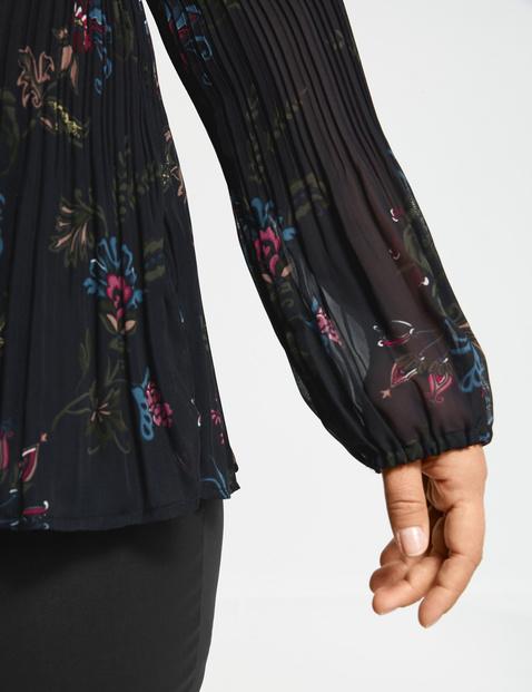 Plissée-Bluse mit floralem Print