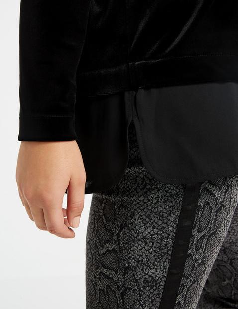 Samt-Shirt mit Chiffon-Patch