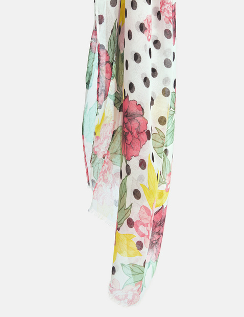 Sjaal met stippen- en bloemenprint