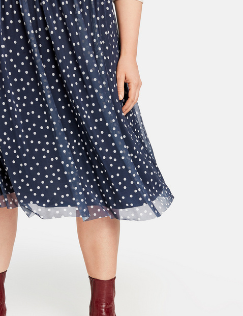 Midi skirt with polka dots