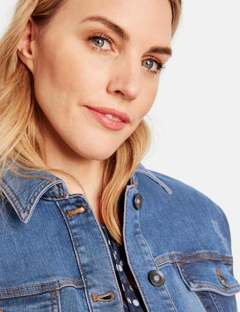 Jeansjacke mit Kontrast-Details