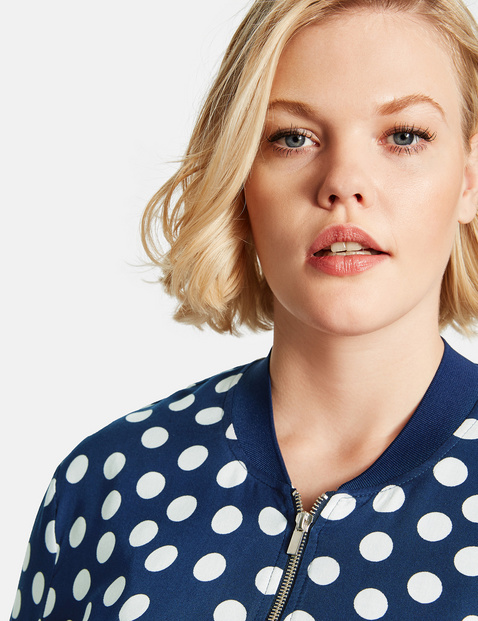 Bomber jacket with polka dots