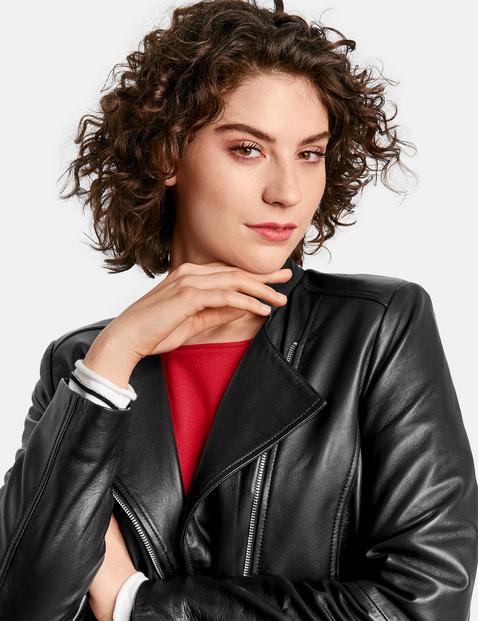 Leather biker style jacket
