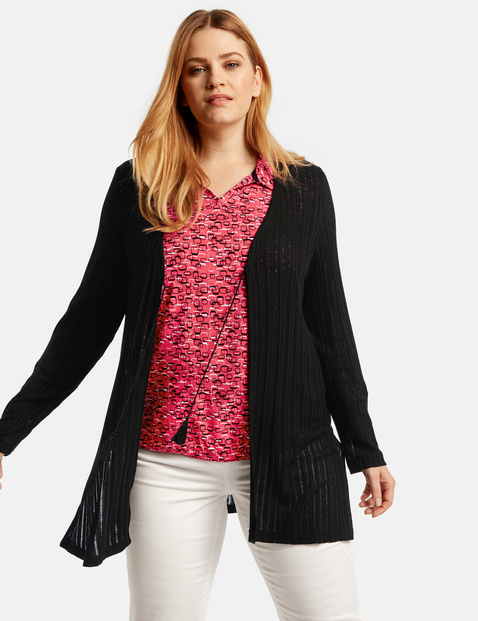 Cardigan with sheer ribbed texture