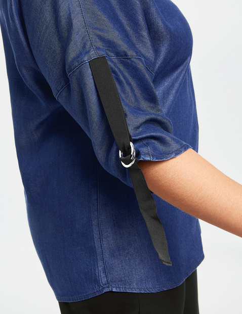 Luźna bluzka z materiału przypominającego denim