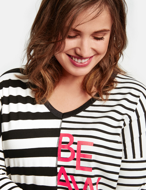 3/4-length sleeve top in a striped design